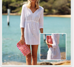 CUTE COLLECT WAIST DEEP V HOLIDAY BEACH DRESS WHITE DRESS
