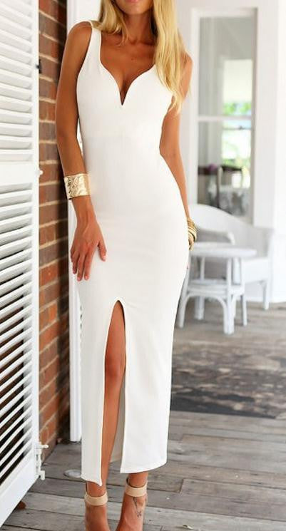 BIG V-NECK SLEEVELESS DRESSES
