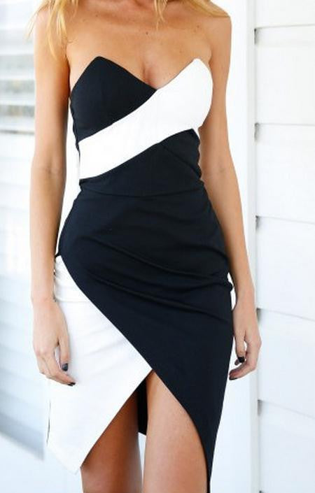 BACKLESS PACKAGE HIP BLACK AND WHITE AND COLOR MATCHING OF CULTIVATE ONE'S MORALITY DRESS