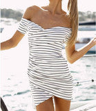 CULTIVATE ONE'S MORALITY PACKAGE HIP STRIPE DRESS WITH SHORT SLEEVES