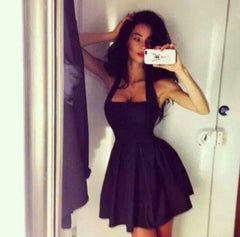 CUTE BLACK SHOW BODY SHORT DRESS