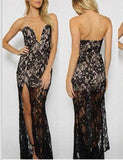 CUTE V LACE SHOW BODY LONG DRESS