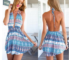 CUTE COLORFUL BACKLESS DRESS