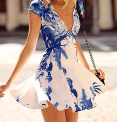 A99956 CUTE V PRINTED SLEEVELESS DRESSES