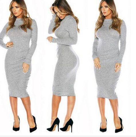 HIGH COLLAR AUTUMN WEAR LONG SLEEVE DRESS COAT