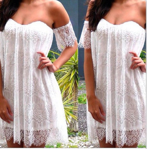 SEXY LACE STRAPLESS DRESS THAT WIPE A BOSOM