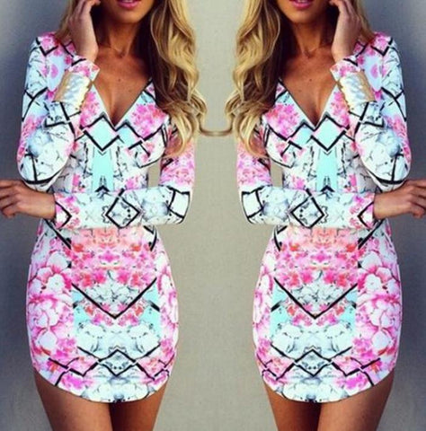 ON SALE HOT LONG SLEEVE COLORFUL DRESS