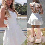 ON SALE CUTE HOLLOW OUT NET WHITE DRESS