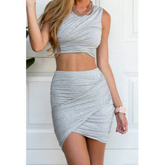 HOT GREY TWO PIECE DRESS