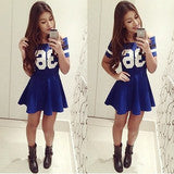 HOT BLUE LETTER ONE WORD DRESS