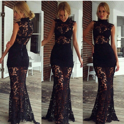 A99937 WATER SOLUBLE LACE DRESS WITH SHORT SLEEVES LONG DRESS