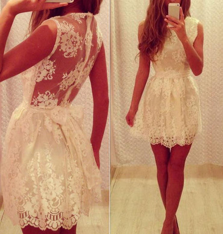 LACE HOLLOW OUT OF TALL WAIST BOWKNOT SEXY BACKLESS DRESS