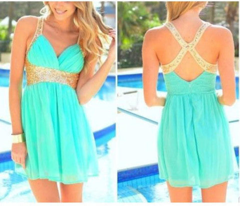HOT CROSS SEQUINS SHINING GREEN DRESS