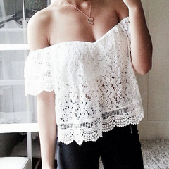 FASHION HOT STRAPLESS LACE TOP SHIRT