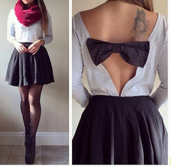 CUTE BACKLESS BOW SHIRT TOP