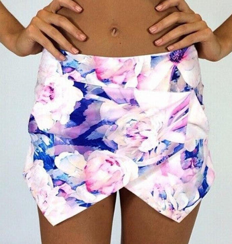 A99948 HOT FLOWER PRINTED SHORTS SKIRTS
