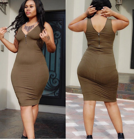 HOT CUTE ZIPPER FRONT AND BACK DRESS