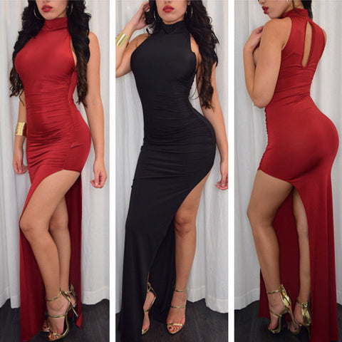 HOLLOW OUT BACKLESS HIGH-WAISTED SPLIT LONG SEXY DRESS PARTY DRESS RED