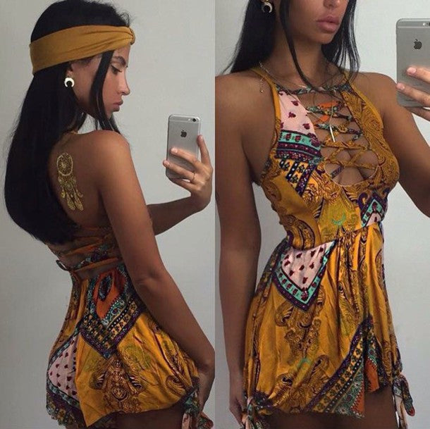 FASHION PRINT CROSS ROMPER