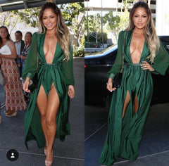 HOT DEEP V GREEN DRESS