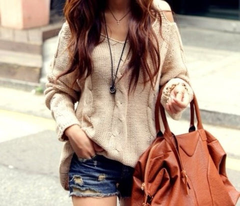 CUTE TWIST OFF SHOULDER SWEATER TOP