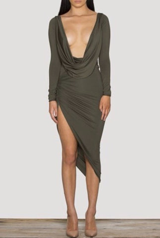 HOT CUTE DEEP V SHOW BODY IRREGULAR DRESS