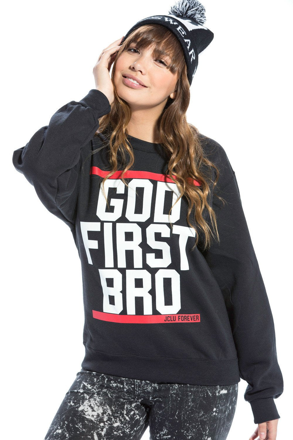 Sweatshirt God First Bro Black  Red/White - JCLU Forever - 1