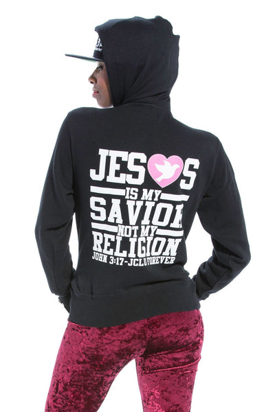 Jesus Is My Savior Zip Hoodie - Black