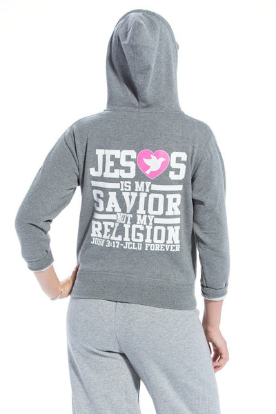 Jesus Is My Savior Zip Hoodie - Gunmetal Heather