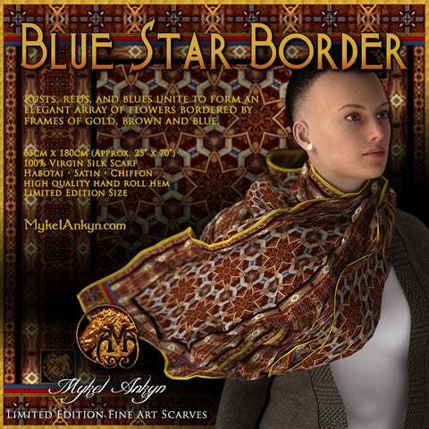 Blue Star Border - Mykel Ankyn Limited Edition Fine Art Scarves