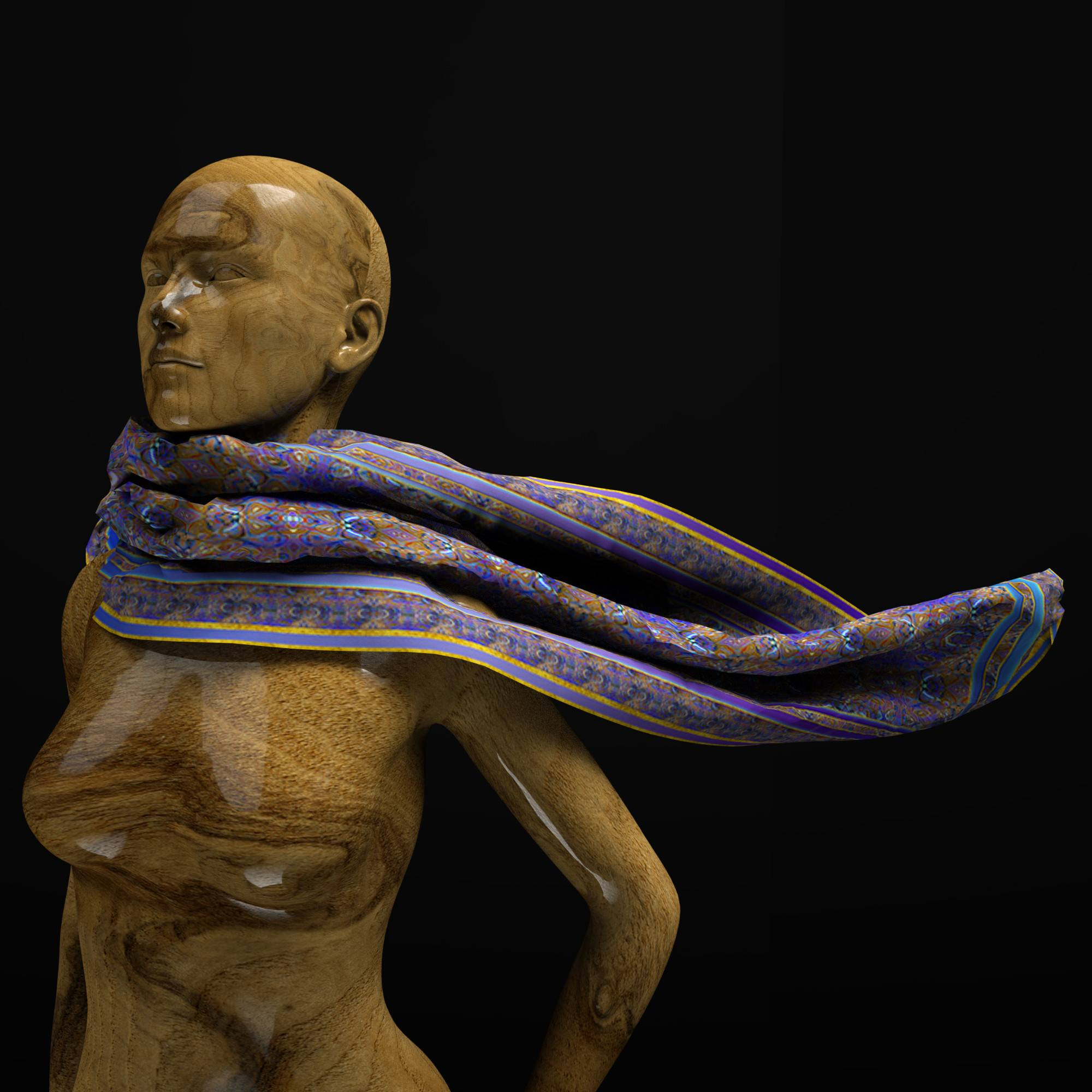 Cosmic Blue Turtle Race - Mykel Ankyn Limited Edition Fine Art Scarves