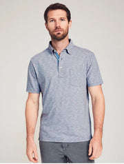 Faherty Short Sleeve Indigo Striped Polo - Satel's