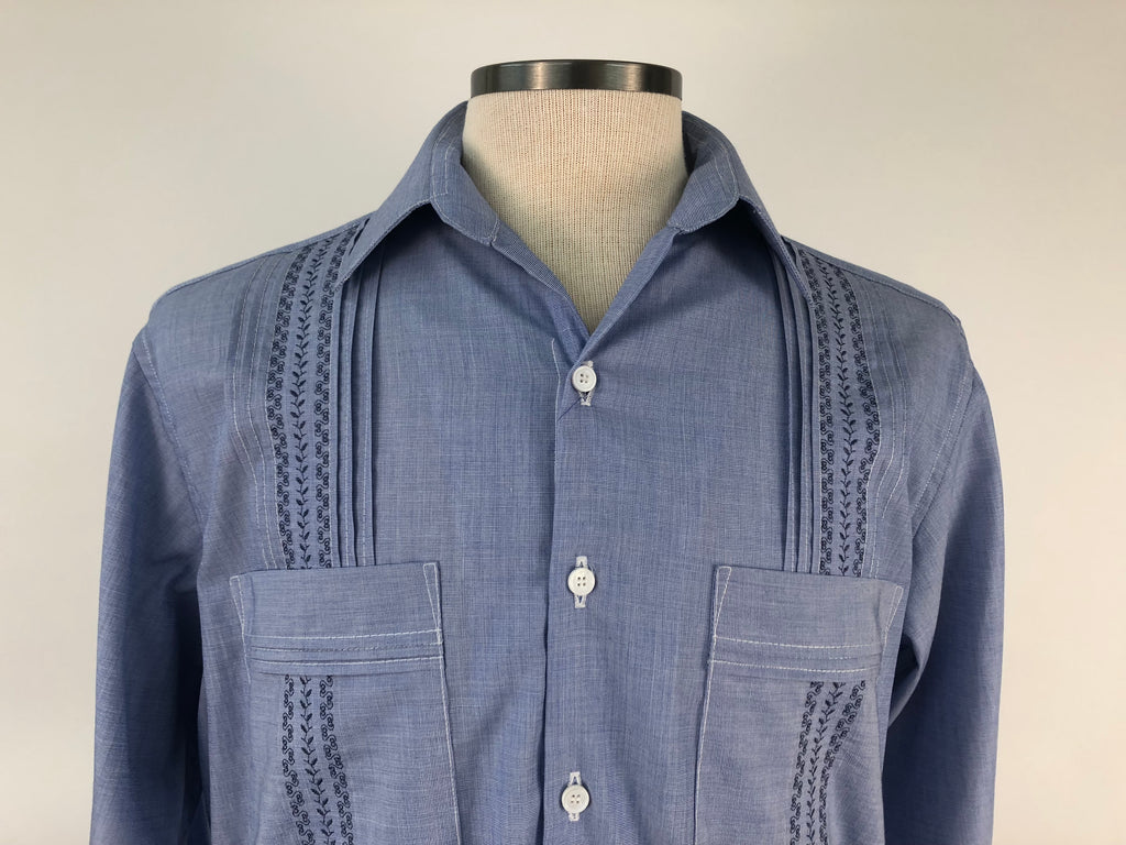 DOS CAROLINAS Light Blue Long Sleeve Guayabera With Navy Embroidery : Dos Carolinas - Satel's