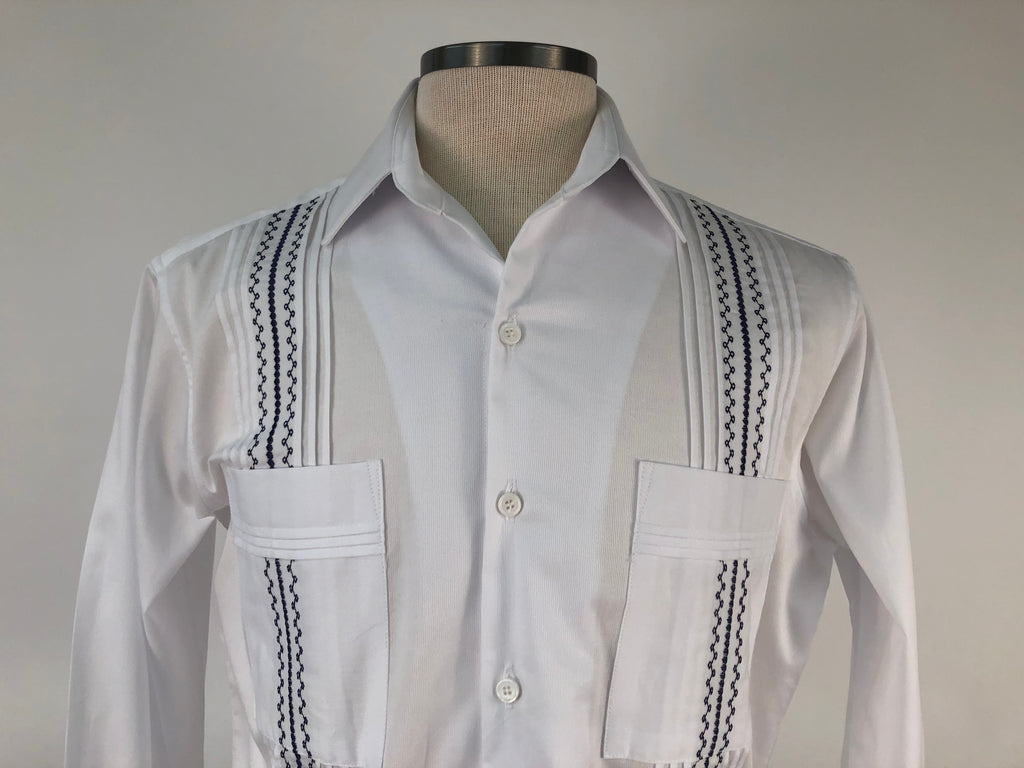 DOS CAROLINAS White Pique Long Sleeve Guayabera with Midnight Blue Embroidery