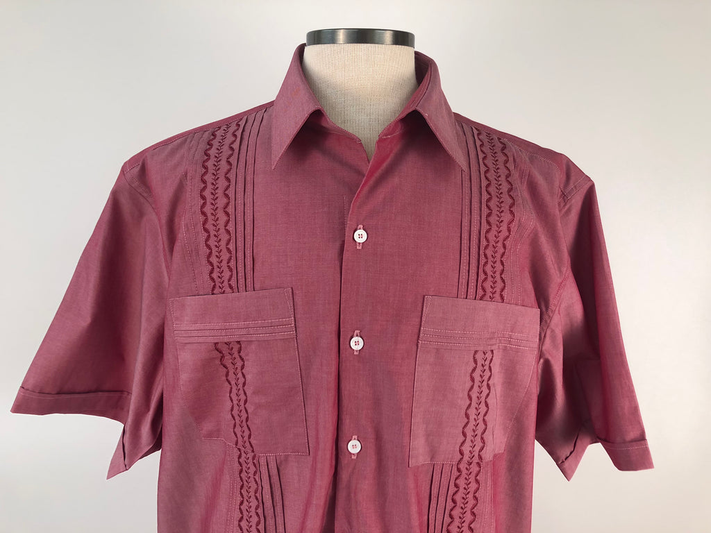 DOS CAROLINAS Red Short Sleeve Guayabera with Red Embroidery