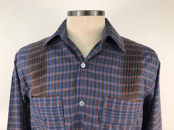 DOS CAROLINAS Blue Long Sleeve Plaid Guayabera