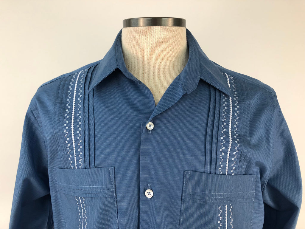 DOS CAROLINAS Sky Blue Long Sleeve Solid Guayabera with White Emboridery : Dos Carolinas - Satel's