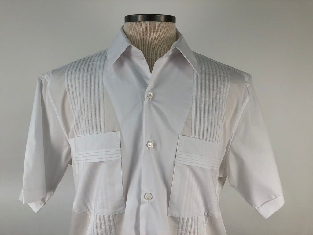 DOS CAROLINAS White Broadcloth Short Sleeve Guayabera with White Stitching : Dos Carolinas - Satel's