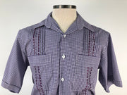 DOS CAROLINAS Grape Short Sleeve Guayabera with Purple Embroidery - Satel's