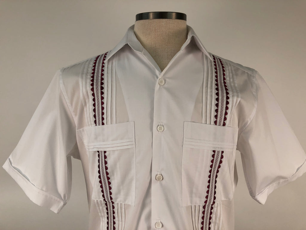 DOS CAROLINAS White Short Sleeve Guayabera with Maroon Embroidery : Dos Carolinas - Satel's