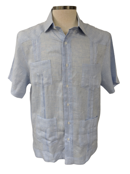 Brunotelli Blue Linen Guayabera Shirt : Brunotelli - Satel's