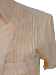 DOS CAROLINAS Peach Solid Short Sleeve Guayabera with Embroidery - Satel's