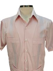 DOS CAROLINAS Pink Check Short Sleeve Guayabera with Blue Embroidery - Satel's