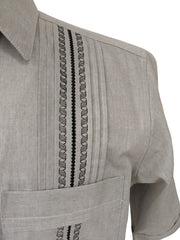 DOS CAROLINAS Grey Solid Chambray Short Sleeve Guayabera with Black Embroidery - Satel's