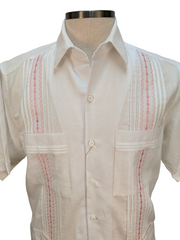 DOS CAROLINAS White Linen & Cotton Short Sleeve Guayabera with Pink Embroidery : Dos Carolinas - Satel's