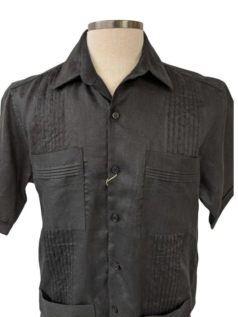 DOS CAROLINAS Black Solid Linen Short Sleeve Guayabera with No Embroidery : Dos Carolinas - Satel's