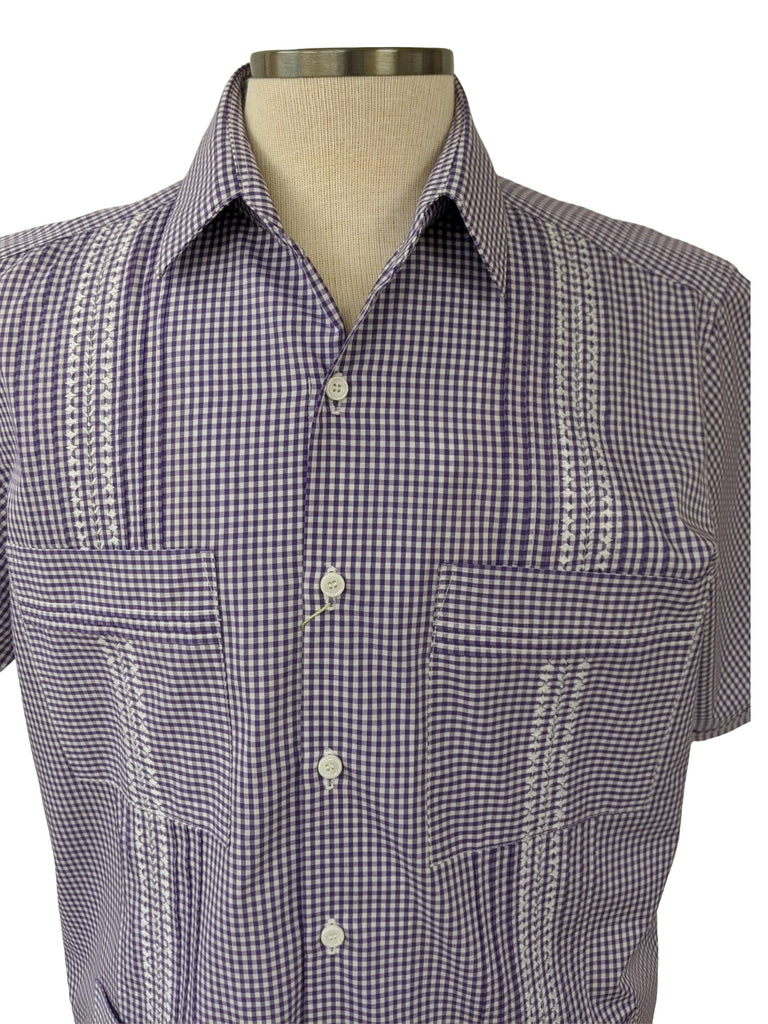 DOS CAROLINAS Purple & White Check Guayabera with White Embriodery : Dos Carolinas - Satel's