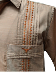 DOS CAROLINAS Burnt Orange Guayabera with Longhorn Embroidery - Satel's