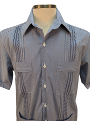 DOS CAROLINAS Navy and White Check Short Sleeve Guayabera with Navy Embroidery : Dos Carolinas - Satel's