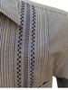 DOS CAROLINAS Navy and White Check Short Sleeve Guayabera with Navy Embroidery - Satel's